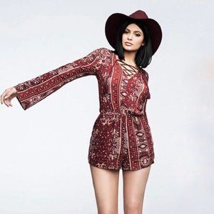 Kendall + Kylie Red BOHO Paisley Print Romper XS